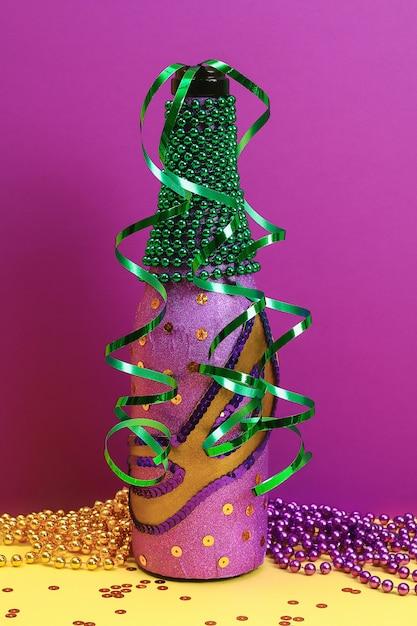Diy mardi gras bottle purple adhesive paper Premium Photo