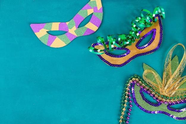 Diy masquerade mask mardi gras, fat tuesday. Premium Photo