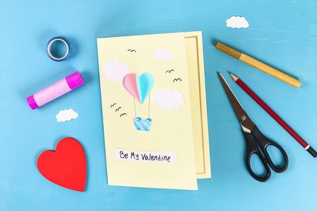 Diy valentines day greeting card on 14 february Premium Photo