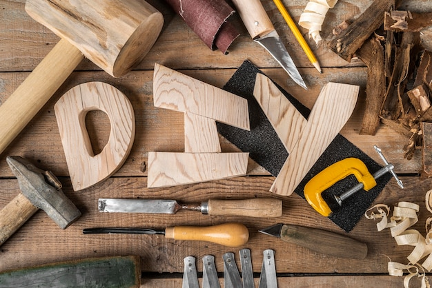 Diy word and tools assortment Free Photo