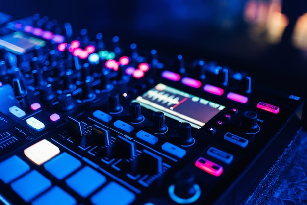 Dj controller panel on for professional music and sound Premium Photo