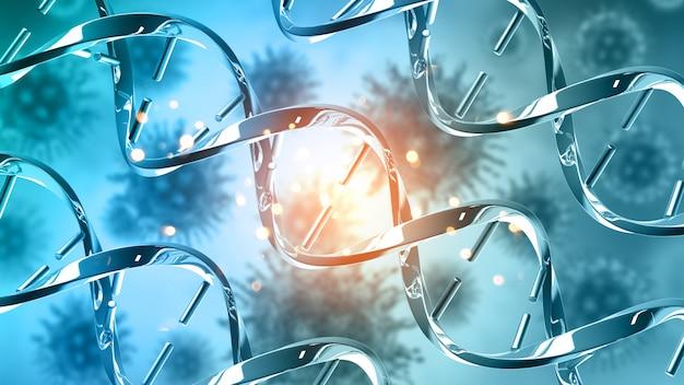抽象的なdna鎖を持つ3 d医療の背景 無料写真