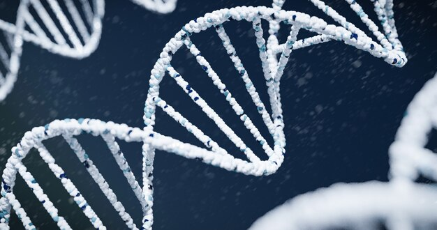 Dna close up on blue background., 3d rendering. Premium Photo