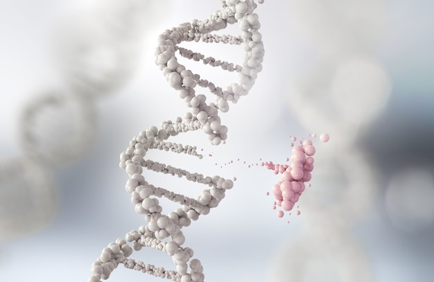 DNA helix break or Replace for concept Premium Photo