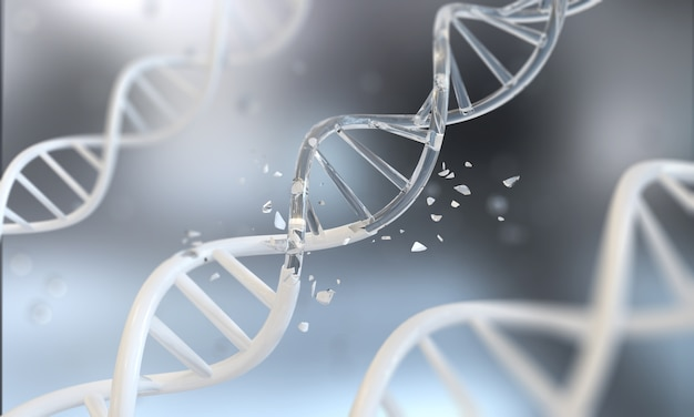 Dna helix for concept of digital genetic engineering Premium Photo