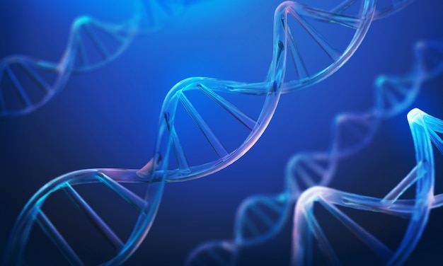 Dna helix, molecule or atom, abstract structure for science or medical background Premium Photo