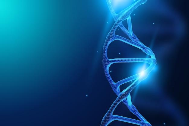 青い背景上のdna分子 Premium写真