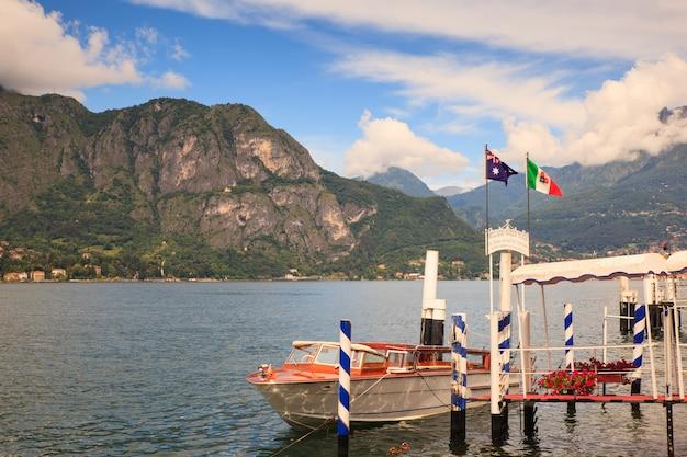 Dock of lake como Premium Photo