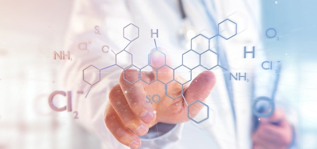 Doctor holding a 3d rendering molecule structure Premium Photo