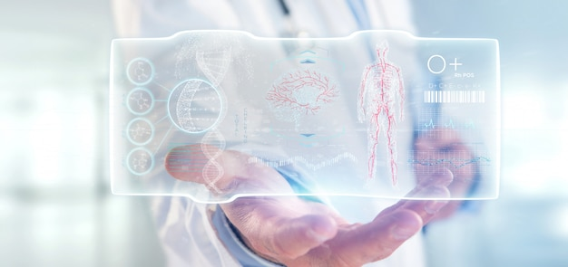 Doctor holding a futuristic template interface hud Premium Photo