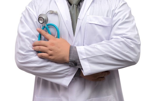Doctor standing arms crossed with stethoscope isolated on white background Premium Photo