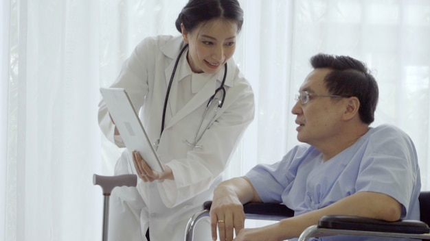 Doctor take care of patient at hospital or medical clinic. healthcare concept. Premium Photo
