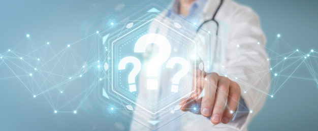 Doctor using digital question marks interface 3d rendering Premium Photo