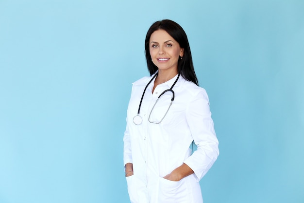Doctor with white robe and stethoscope Free Photo