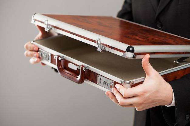 Document case in businessman hands Free Photo