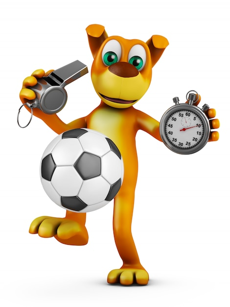 The dog plays with a soccer ball and holds a whistle and a stopwatch. 3d rendering. Premium Photo