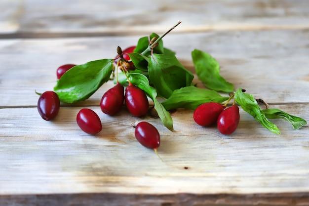 Кизил. свежие ягоды и листья кизила. Premium Фотографии