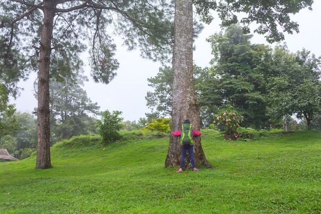 Девушка в походе с большим рюкзаком в лесу doi mae ta man, chiang mai, thailand Premium Фотографии