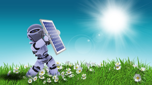 Doll stoping the sun with solar panel Free Photo