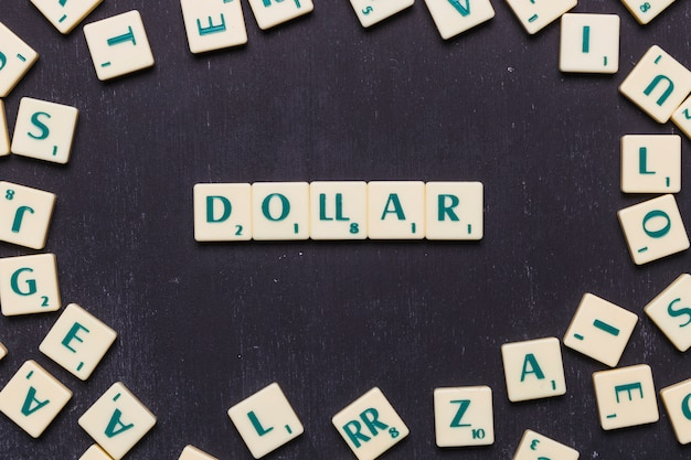 Dollar text arranged in a row over black background Free Photo