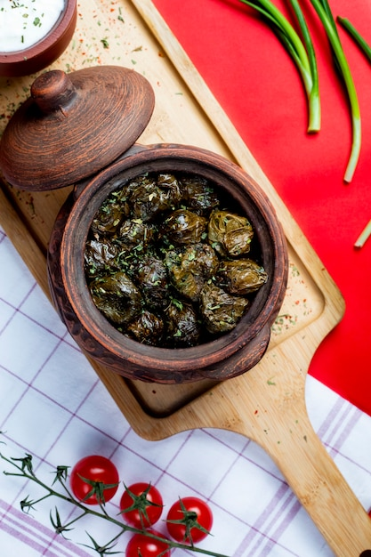 Dolma in leaves topped with herbs Free Photo