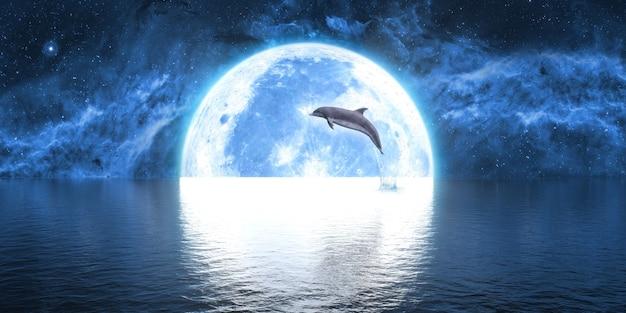 Дельфин прыгает из воды на фоне большой луны, 3d иллюстрация Premium Фотографии