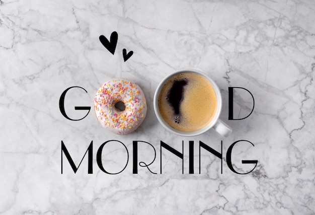 Donut, cup of coffee and hearts. good morning greeting written on marble gray Premium Photo