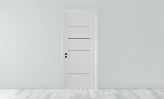 Door on empty room white wall on white wooden floor. 3d rendering Premium Photo