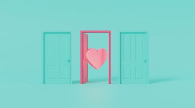 Door open with heart shape. Premium Photo