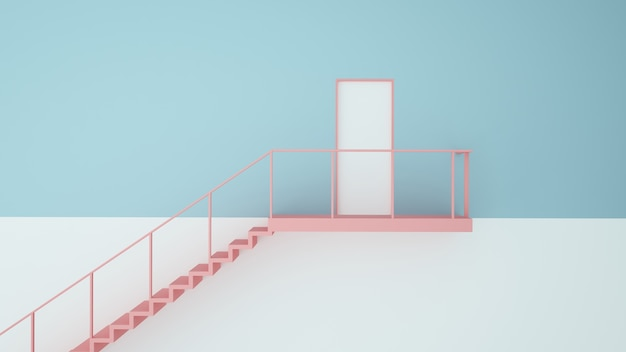 Door paper art concept pastel color background -3d rendering Premium Photo