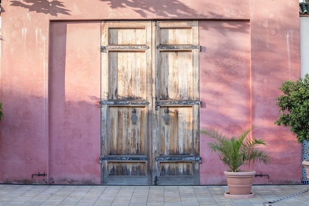 Door on red wall. Free Photo