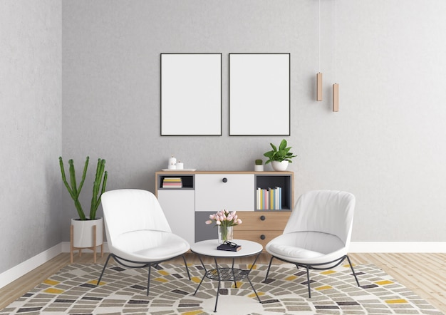 Double Art Frames Living Room Mockup Photo Premium Download