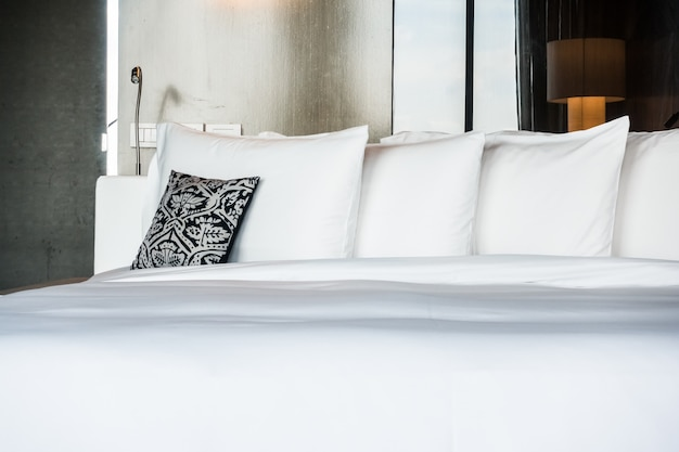 Double bed with a cushion and pillows photo free download - Double bed image ...