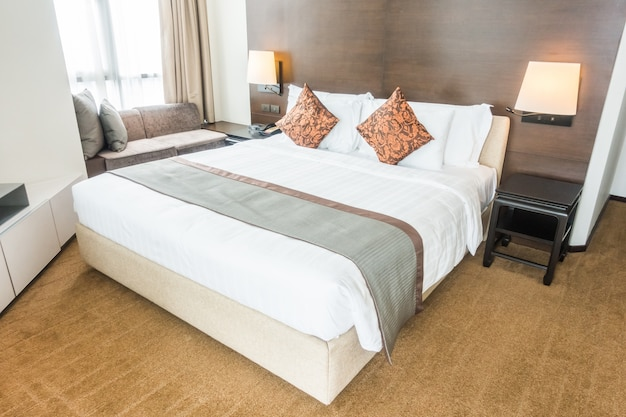 Double bed with pillows Free Photo