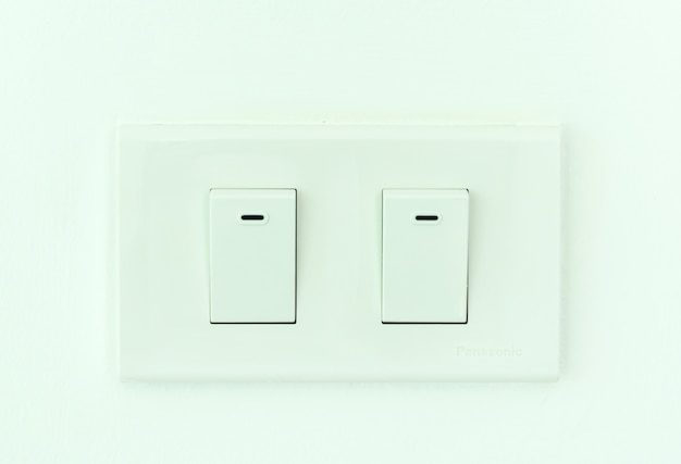 Double electric switch outlet in thailand. Premium Photo