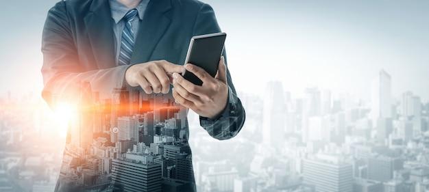 Double exposure image of business communication Premium Photo