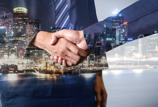Double exposure image of business and finance Premium Photo