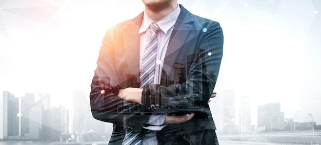 Double exposure image of business person Premium Photo