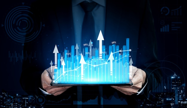 Double exposure image of business profit growth Premium Photo