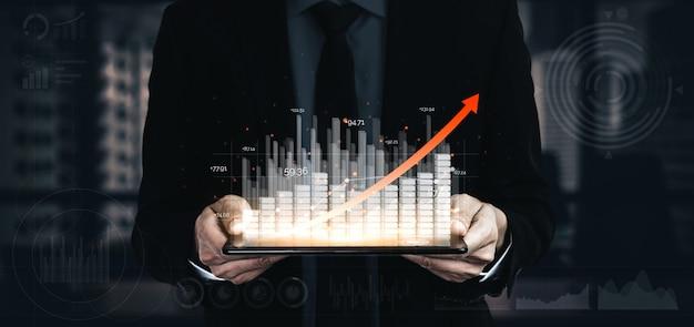 Double exposure image of business profit growth Premium Photo