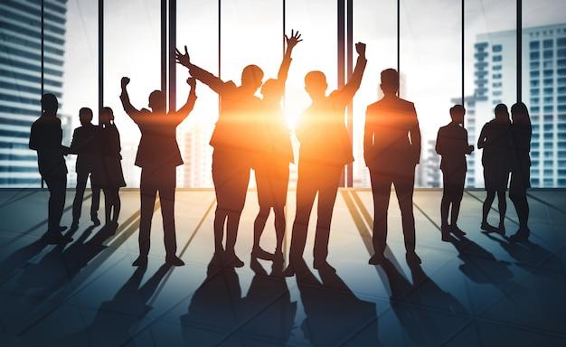 Double exposure image of many business people. Premium Photo