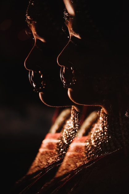 Double exposure. silhouette of charming hindu bride in tradition Free Photo