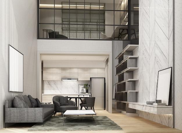 Двойное пространство гостиной и столовой с деревянным полом и мраморным рисунком стены украшают рабочую зону мезонина интерьер 3d рендеринга Premium Фотографии