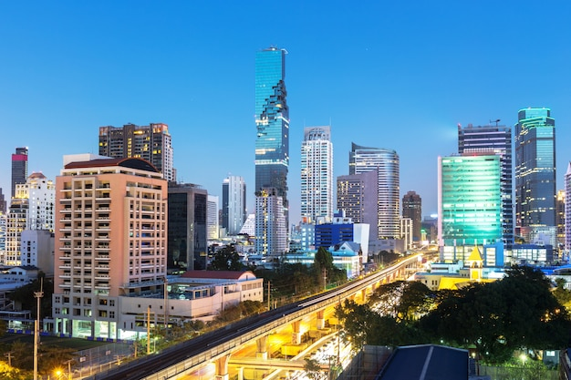 Downtown area in bangkok thailand in twilight time Premium Photo