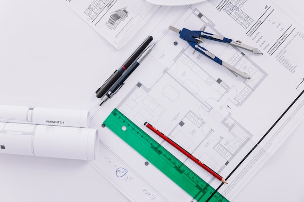 Drafting tools and blueprints Photo | Free Download