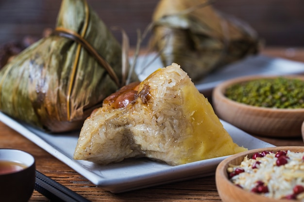 Dragon boat festival rice dumplings Premium Photo