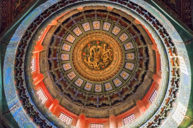 Dragon-carved roofs at the forbidden city, beijing, china Premium Photo
