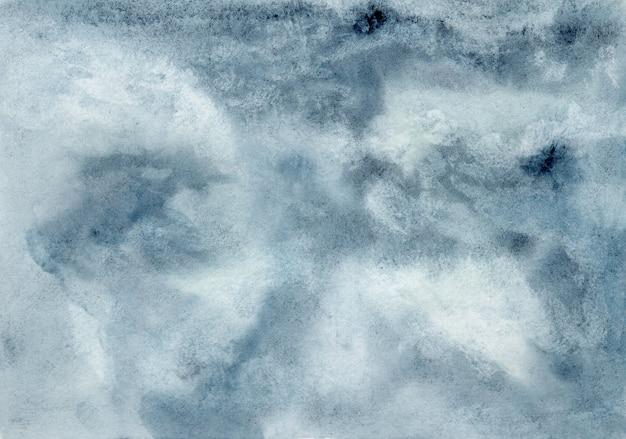 Драматические темно-синие и серые облака мокрый акварельный фон, концепция акварельной текстуры грозового неба Premium Фотографии