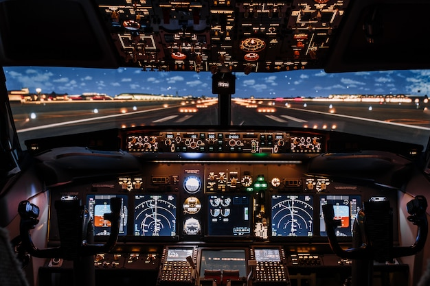 Dramatic full view of cockpit modern boeing aircraft before take-off. Premium Photo
