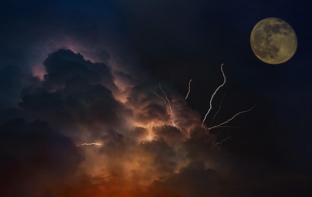Dramatic moon orbit planet earth. lightnings in sunset sky with dark clouds Premium Photo